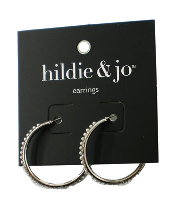 hildie & jo Silver Hoop Earrings-Pearls