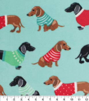 Anti-Pill Plush Fleece Fabric-Holiday Dachshunds on Aqua