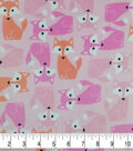 Soft & Comfy Fleece Fabric-Foxes on Pink