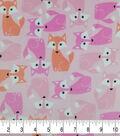 Soft & Comfy Fleece Fabric 57\u0022-Foxes on Pink