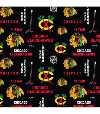Chicago Blackhawks Cotton Fabric 43''-Mascot Logo