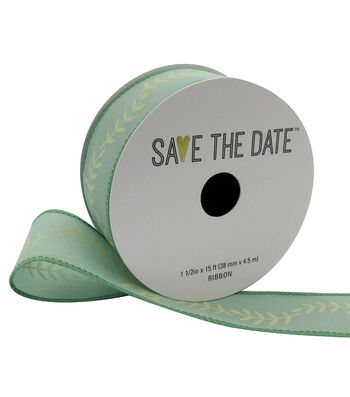 """Save the Date 1.5"""" x 15ft Ribbon-Ivory Fern On Eucalyptus"""