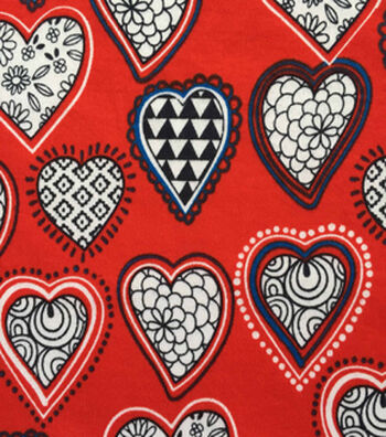"Doodles Juvenile Apparel Fabric 57""-Black & White Hearts"