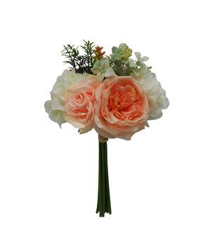 Fresh Picked Spring 13'' Rose & Hydrangea Bouquet-Peach & White