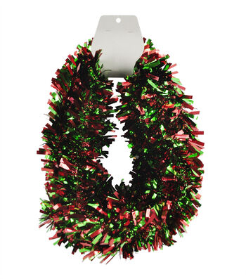 Maker's Holiday Christmas 18' Tinsel Garland-Red & Green
