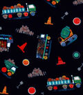 Nursery Flannel Fabric-Tossed Constructions on Navy