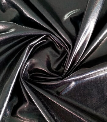 Halloween Metallic Polyester Spandex Fabric 59''-Black