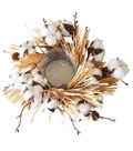Blooming Autumn Cotton & Pinecone Candle Holder
