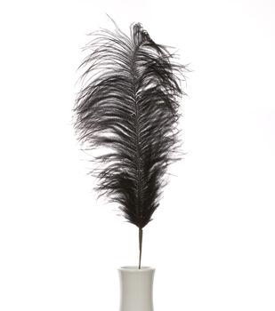 """Bloom Room 30"""" Ostrich Feather Floral Stem-Black"""