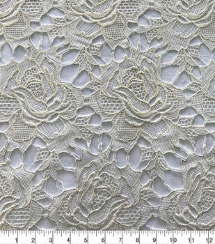 Save the Date Rose Cut Out Lace Fabric-White Gold