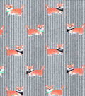 Flannel Fabric-Daschunds on Gray Stripes