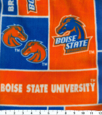 Boise State University Broncos Fleece Fabric -Block