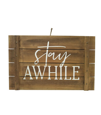 Simply Spring 24.02'' Wooden Wall Decor-Stay Awhile