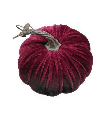 Simply Autumn Small Velvet Pumpkin-Burgundy