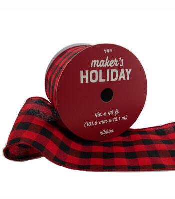 Maker's Holiday Christmas Ribbon 4''x40'-Red & Black Buffalo Checks