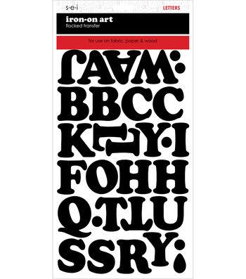 SEI 2 pk Chunky Letter Iron-on Art Flocked Transfer Sheets-Black