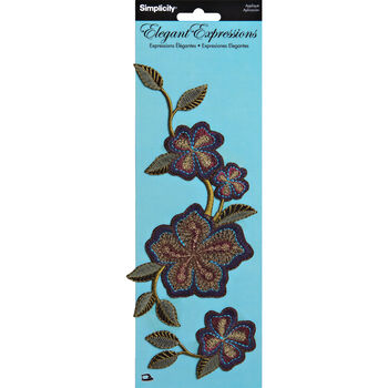Elegant Expressions Multi Embroidered Iron On Floral Appliques, 2 pcs
