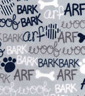 Snuggle Flannel Fabric -Woof, Arf, Bark on Gray