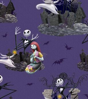Halloween Cotton Fabric -Nightmare Before Xmas Scenic