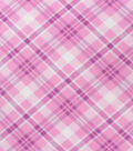 Blizzard Fleece Fabric-Pink Bias Plaid