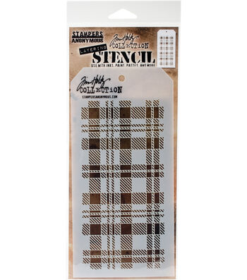 Stampers Anonymous Tim Holtz 4.13''x8.5'' Layering Stencil-Plaid