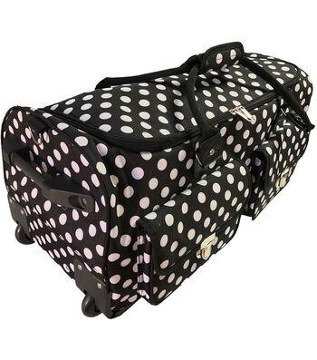 CGull Rolling Craft Machine & Supply Bag 2.0-White Polka Dots on Black