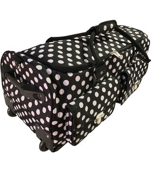 CGull Rolling Craft Machine & Supply Bag 2.0-White Polka Dots on Black