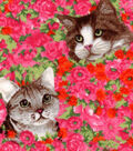 Snuggle Flannel Fabric 42\u0022-Cats On Floral