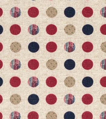 Patriotic Cotton Fabric 43''-Patriotic Dots on Cream