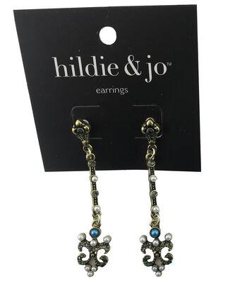 hildie & jo Antique Gold Earrings-Pearls & Crystals