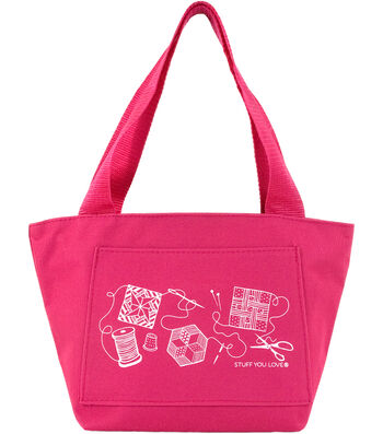 "K1C2 Quilt Happy Petite Project Bag 13""X8""X5""-Hot Pink"