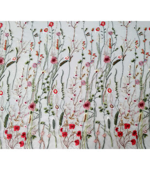 Casa Embellish Dahlia Fashion Fabric-Embroidered Floral & Butterflies