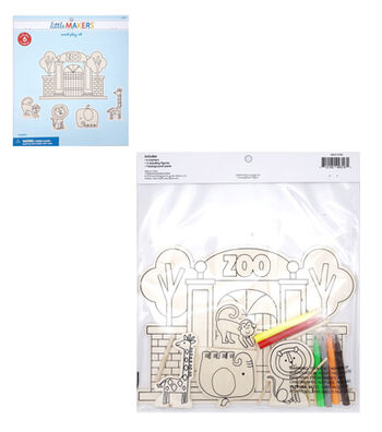 Little Makers Wood Coloring Kit-Zoo