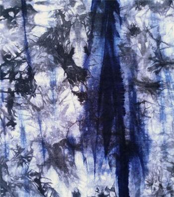 Knit Print Fabric 58''-Blue & Black Spikey Tie Dye