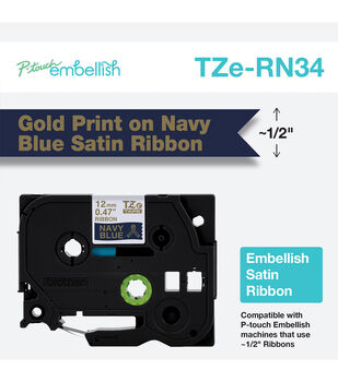 Brother P-touch Embellish Satin Ribbon 0.47''x13.1'-Gold on Blue