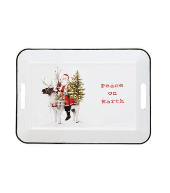3R Studios Christmas Enameled Tray-Santa Image & Peace on Earth