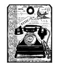 Crafty Individuals Unmounted Rubber Stamp 4.75\u0022X7\u0022 Pkg-Chunky Vintage Telephone Tag
