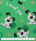 St. Patrick\u0027s Day Cotton Fabric -I Woof You Green Glitter
