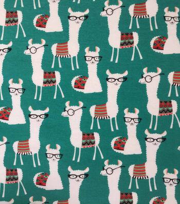 Doodles Cotton Interlock Knit Fabric-Llama Library
