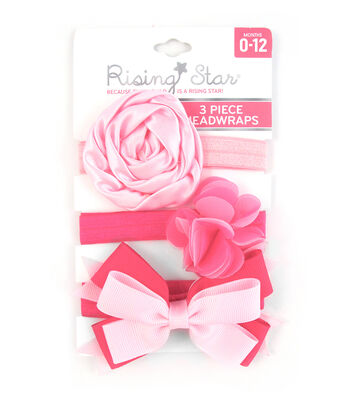 3 Pc Headband- Hot-Lt Pink