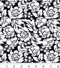 Snuggle Flannel Fabric 42\u0022-Black & White Floral