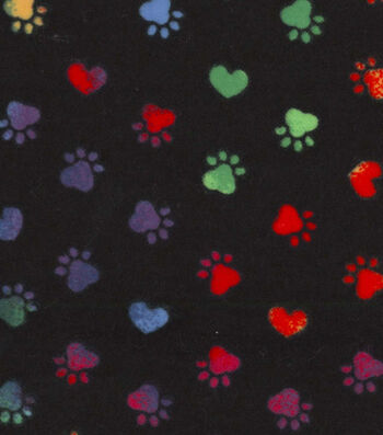 Snuggle Flannel Fabric -Tie Dye Paws And Hearts Black