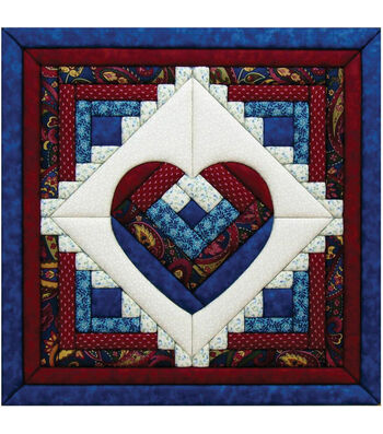 "Log Cabin Heart Quilt Magic Kit-15-1/2""X15-1/2"""