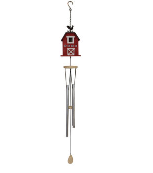 In the Garden Wood & Metal Barn Wind Chime-Red