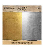 Tim Holtz Idea-ology Pack of 36 8''x8'' Kraft Stock-Metallic, , hi-res