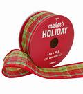 Maker\u0027s Holiday Christmas Ribbon 1.5\u0027\u0027x30\u0027-Red & Lime Plaid