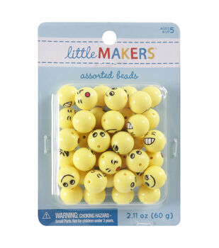 Little Makers 2.11 oz. Round Beads-Emoji on Yellow