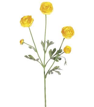 "Bloom Room 29"" Ranunculus Spray x3 with 2 Buds&Flocked Spray-Yellow"