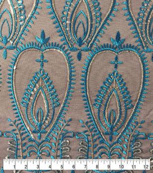 Casa Embellish Dahlia Sequin Embroidered on Mesh Fabric-Tile Blue