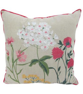 Hello Spring Embroidered Pillow-Floral